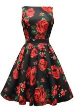 Lady London Vintage Red & Green Roses Floral Tea Dress 50s retro classy cotton