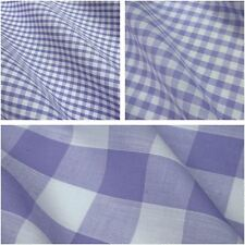 Lilac & White Corded Polycotton Gingham Fabric - 3 Sizes *Per Metre