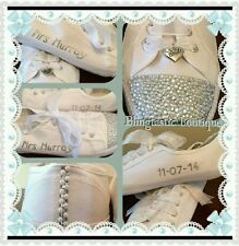 Hand customized wedding bridal personalised shoes pumps trainers size 3-8uk