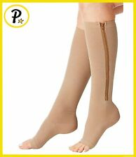 NEW Zipper Compression Socks Open Toe Therapy Leg Support Brace Stocking Zip Up