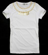 NWT Women's 19855 Letter Moschino Necklace Fashion T-shirt/Top/Tee White/Red