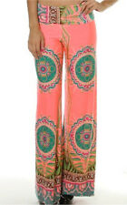 wide leg palazzo pants  pink kaleidoscope retro silky new womens trousers sport