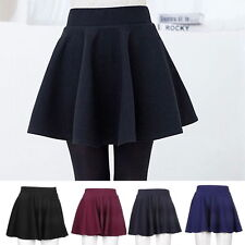 Fashion Women's Stretch Waist Plain Skater Flared Pleated Mini Skirt New BU