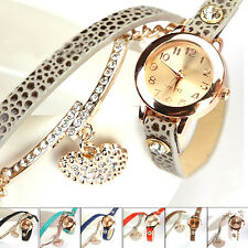 Women's Crystal Heart Pendant Litchi Leather Strap Analog Bracelet Wrist Watch