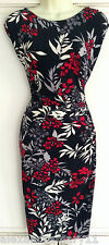 NEW Ex Wallis Black Cream Grey Red Floral Print Ruched Dress 8 10 12 14 16 18