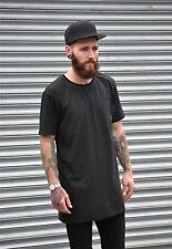 Mens Retro Black Long Line Tall Extended Oversize T shirt Top Tee