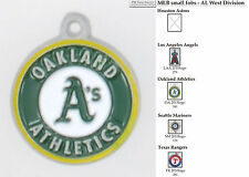 MLB team logo fobs (AL West), pewter-toned, with team & leather strap options