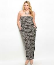 Plus Size Black and Ivory Strapless Aztec Pattern Jumpsuit