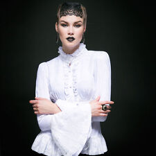 Punk Rave Masquerade Long Sleeve White Top [Special Order] - Gothic,Goth,White,T
