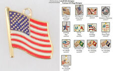 US Flag (American Flag) fobs, various designs & leather strap options