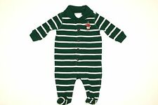 NWT Polo Ralph Lauren Baby Boy's Polo Teddy Bear Cotton Green Stripe Coverall