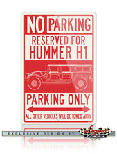 Hummer HUMVEE H1 Station Wagon Reserved Parking Only Sign 12x18 or 8x12 Aluminum