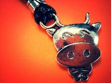 MOO COW PENDANT NECKLACE, HANDCRAFTED, CELESTIAL SILVER, ADJUSTABLE,5bucksjewels