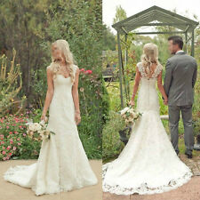 2015 White/Ivory Mermaid Wedding Dress Lace Bridal Gown Size 4 6-8-10-12-14-16++