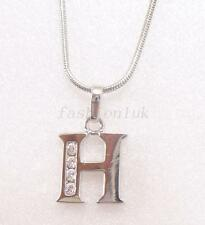 fashion1uk White Gold Plated Letter ABC to  XYZ Charm Necklace Cubic Zirconia