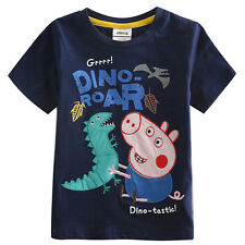 New 1-6 Years Boy's George Peppa Pig & Dinosaur Embroidered short sleeve T-shirt