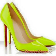 Rote Sohle Pumps Celebrity Blogger Style High Heels Neon Yellow Gr. 36-42