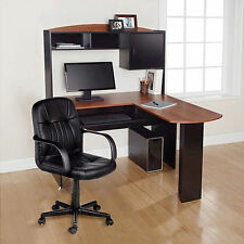 Computer Desk & Chair Corner L-Shape Hutch Study Table Ergonomic Home Office New