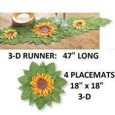 """FREE SHIPPING!  3D YELLOW SUNFLOWER DINING TABLE RUNNER 47"""" NEW Deluxe"""