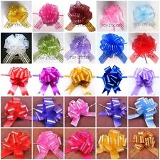 10 Pom Pom Bow 50MM LARGE ORGANZA RIBBON PULL BOWS WEDDING PARTY GIFT WRAP