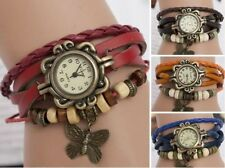 Women Vintage New Leather Bracelet Butterfly Decoration Quartz Wrist Watch DX