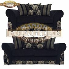 Amelia Polly Sofa - Black Floral pattern - 2 and 3 seater - Direct from Factory