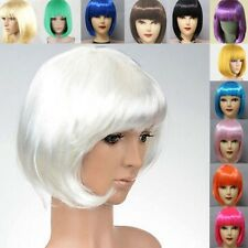 Bright Color Womens Ladies Short Straight Bangs BOBO Hair Party Cosplay Full Wig