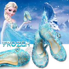 GIRL BLUE SHOES FOR FROZEN ELSA PRINCESS FANCY DRESS COSPLAY PARTY KIDS COSTUME
