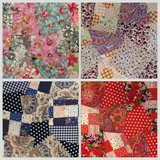 "Quilting Fabric Squares 100% Cotton 4"" Patchwork 4 Designs 3 bundle sizes Craft"