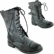 Boys Girls Kids Childrens Unisex Military Combat Worker Lace Up Boots New