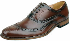 Mens New Brown Leather Lined Lace Up Formal Brogue Shoes Size 6 7 8 9 10 11 12
