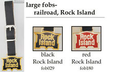 Rock Island Railroad fobs, various designs & leather strap options