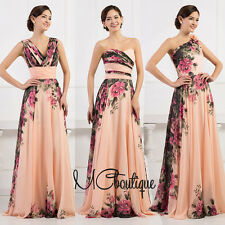 Peach Pink Floral Chiffon Prom Bridesmaid Wedding Maxi Dress Size AU6-20
