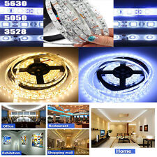 Lot 3528 5050 5630 Waterproof 5M 300SMD White LED Flexible Strip Light & Adapter