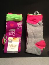 Girls 2 Pair Knee High Socks Purple with Skulls and Gray/Pink, Medium or Large