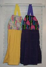 Tabby Cats Chubby & Skinny Hanging Kitchen Oven Dishtowel Handmade by HCF&D