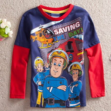 NEW Fireman Sam Boys Cotton Top T-shirt Tee Size 1-5 Years Clearance SALE XFS