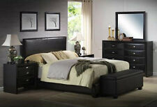 Upholstered Bed Faux Leather Frame Headboard KING QUEEN FULL BLACK BROWN WHITE