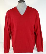 Izod Red V Neck Cotton Knit Sweater Mens NWT