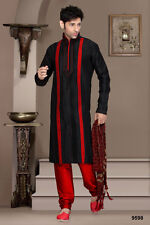 Mens Wear Black Color Kurta Payjama Dress Traditional Tops From India