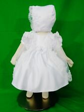 Baby Girl's Christening/Baptism Short-Sleeve Dress White Bonnet Cape Sizes XS-XL