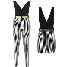 NEW LADIES STRIPE MONOCHROME GOLD BELT ALL IN ONE PLAYSUIT JUMPSUIT FOR WOMEN