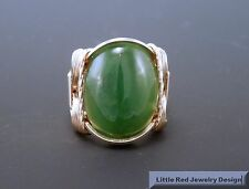 14 k Gold Filled Nephrite Jade Cabochon Wire Wrapped Ring