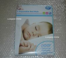 New First Steps One Pack of 2 Disposable Bed Protector Mats size 60 x 90cm 12m