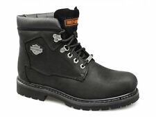 Harley Davidson BADLANDS Mens Oily Leather Lace Up Combat Biker Boots Black New