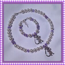 SUPER GORGEOUS LITTLE GIRLS PUSSY CAT PEARL AND CRYSTAL NECKLACE & BRACELET SET