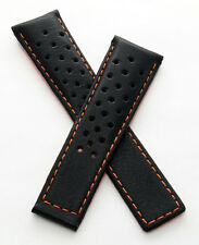 22 mm black sports leather watch strap to fit  TAG Heuer Monaco models