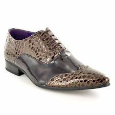 Men's Formal Shoes Italian Crocodile Style Oxford Lace Up UK 6 7 8 9 10 11