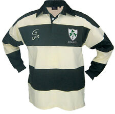 Long Sleeve Striped Shamrock Irish Rugby Shirt Green and Cream.  Live Ror Rugby