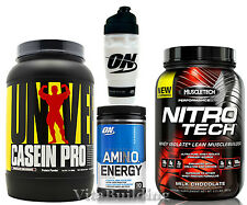 Casein Pro, Nitro-Tech, Amino Energy and Shaker Cup, Universal, ON, MuscleTech